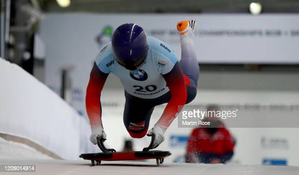 Craig Thompson of Great Britain in action during the first heat for the Men's Skeleton on day seven of the BMW IBSF World Championships Altenberg...