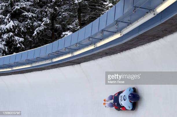 Craig Thompson of Great Britain in action during the second heat for the Men's Skeleton on day seven of the BMW IBSF World Championships Altenberg...
