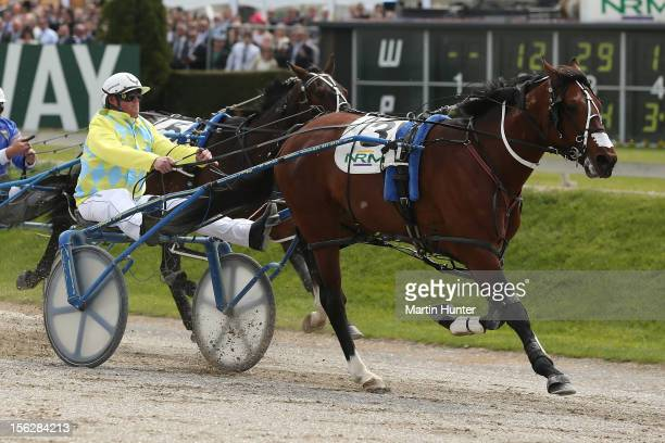 Craig Thornley drives Franco Nelson to win the Sire's Stakes Final during the NZ Trotting Cup at Addington Raceway on November 13 2012 in...