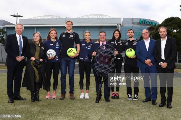 Craig Tiley Australian Open Tournament Director and Tennis Australia CEO Rosie King Melbourne Vixens CEO Liz Watson of the Melbourne Vixens Mitch...