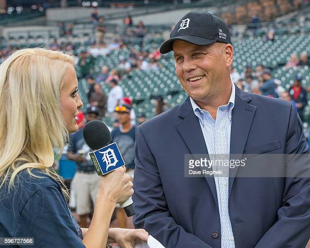 Craig Turnbull Senior Vice President of Marketing Communications for the Detroit Red Wings is interviewed before a MLB game between the Detroit...