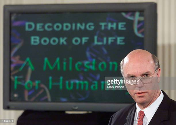 Craig Venter makes remarks during an event in the East Room of the White House June 26 2000 Venter's company Celera Genomics Corporation participated...
