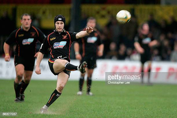 Craig Warlow of Newport scores a penalty during the Powergen Cup Third Round match between Newport Gwent Dragons and Worcester Warriors at Rodney...