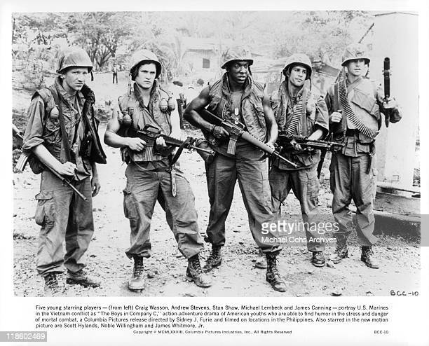 Craig Wasson Andrew Stevens Stan Shaw Michael Lembeck and James Canney portray US Marines in the Vietnam conflict in a scene from the film 'The Boys...