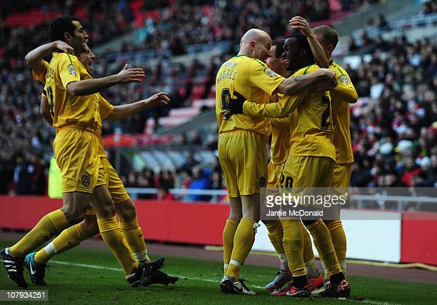 Craig Westcarr of Notts County celebrates his teams goal during the FA Cup Sponsored by Eon 3rd Round match between Sunderland and Notts County at...