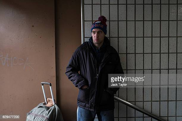 Craig who has been homeless for a month and a half since being kicked out of his hostel is pictured in a stairwell in Charing Cross on December 7...