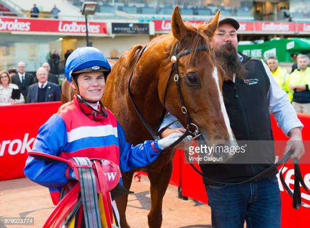 Craig Williams after riding Magic Consol to win Race 9 Travis Harrison Cup during Melbourne racing at Moonee Valley Racecourse on June 16 2018 in...