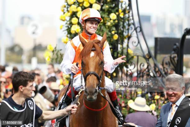 Craig Williams celebrates after riding Vow And Declare to the win race 7, the Lexus Melbourne Cup during 2019 Melbourne Cup Day at Flemington...