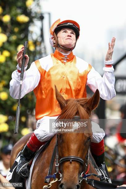 Craig Williams celebrates after riding Vow And Declare to win race 7, the Lexus Melbourne Cup during 2019 Melbourne Cup Day at Flemington Racecourse...