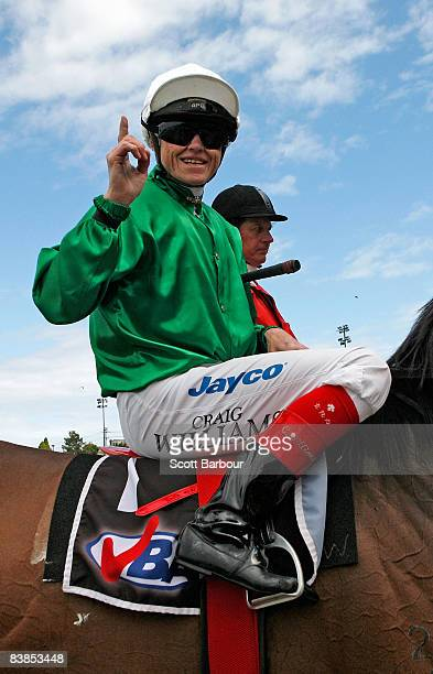 Craig Williams gestures after riding Amberino to win race 6 Tatts Leilani Classic during the Moonee Valley Racing Club Christmas at the Valley...