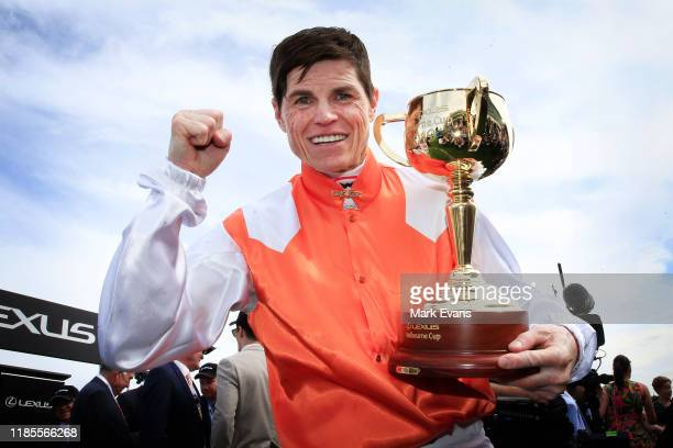 Craig Williams holds the Melbourne Cup after winning with Vow And Declare during 2019 Melbourne Cup Day at Flemington Racecourse on November 05, 2019...