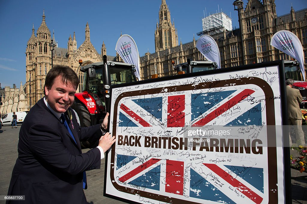 Craig Williams MP at the National Farmers Union (NFU) took machinery, produce, farmers and staff to Westminster to encourage Members of Parliament to back British farming, post Brexit on 14th September 2016 in London, United Kingdom. MPs were encouraged to sign the NFUs pledge and wear a British wheat and wool pin badge to show their support.
