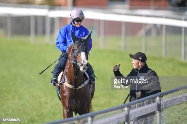 Craig Williams on Admire Deus with strapper Matt Scown at Werribee Racecourse on October 03 2017 in Werribee Australia