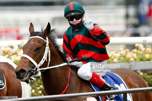 Craig Williams on board September Run returns to scale after winning race 6 the Coolmore Stud Stakes during 2020 AAMI Victoria Derby Day at...
