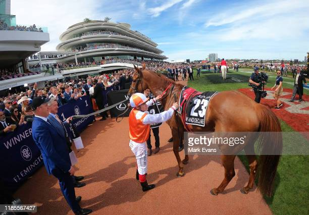 Craig Williams on Vow And Declare returns to scale after winning race 7 the Lexus Melbourne Cup during 2019 Melbourne Cup Day at Flemington...