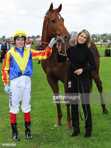 Craig Williams poses with Tammy Blair after riding Spieth to win Race 4 during Melbourne Racing at Flemington Racecourse on June 25 2016 in Melbourne...