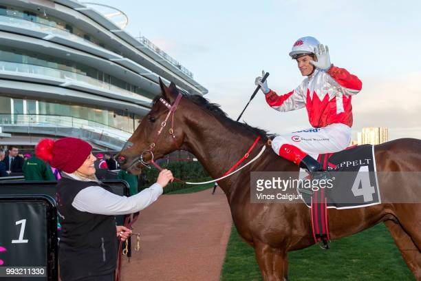 Craig Williams reacts after riding Camdus to give him six winners for the day in Race 9 during Melbourne Racing at Flemington Racecourse on July 7...