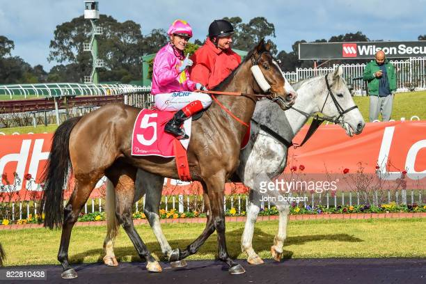 Craig Williams returns to the mounting yard aboard Tan Tat Trusting after winning the Dream Thoroughbreds Plate at Ladbrokes Park Hillside Racecourse...