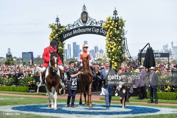 Craig Williams returns to the mounting yard on Vow And Declare after winning the Lexus Melbourne Cup , at Flemington Racecourse on November 05, 2019...