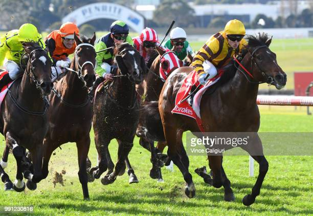 Craig Williams riding Ben Hercules defeats Oceanity in Race 2 during Melbourne Racing at Sandown Hillside on July 4 2018 in Melbourne Australia