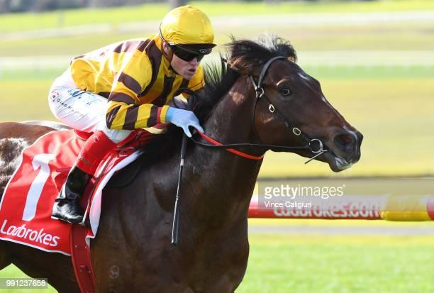 Craig Williams riding Ben Hercules winning Race 2 during Melbourne Racing at Sandown Hillside on July 4 2018 in Melbourne Australia