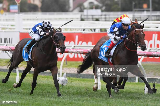 Craig Williams riding Brave Smash wins Futurity Stakes during Melbourne Racing at Caulfield Racecourse on February 24 2018 in Melbourne Australia