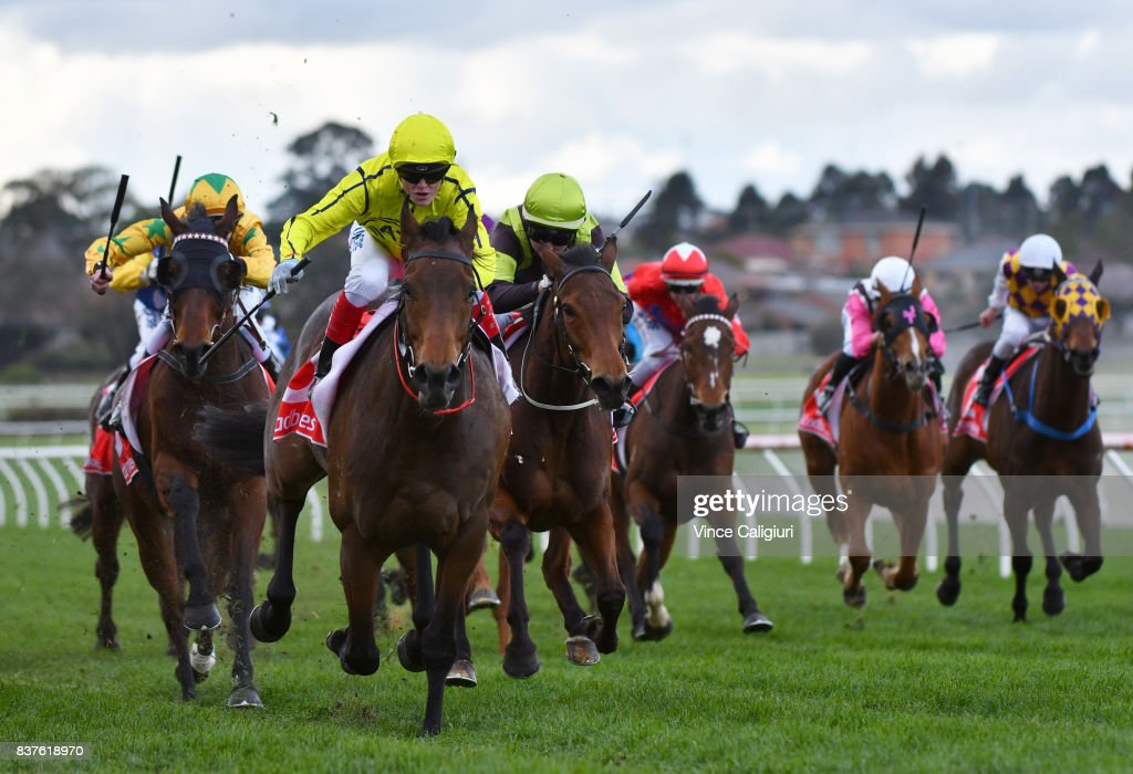 Craig Williams riding Carraig Aonair wins Race 5 during Melbourne Racing at Sandown Hillside on August 23, 2017 in Melbourne, Australia.