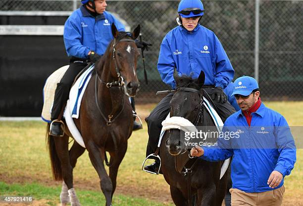 Craig Williams riding Cavalryman walks beside Godolphin stable trainer Saeed bin Suroor after a trackwork session at Werribee Racecourse on October...