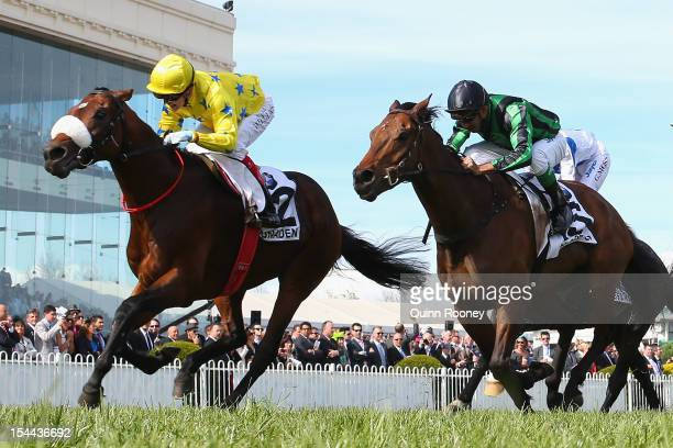 Craig Williams riding Dunaden crosses the line to win the BMW Caulfield Cup during Caulfield Cup Day at Caulfield Racecourse on October 20 2012 in...