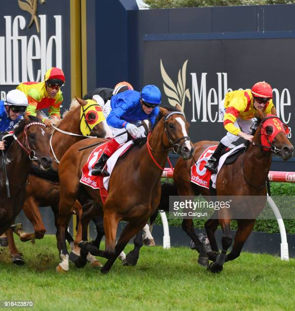 Craig Williams riding Hartnell defeats John Allen riding Brave Smash and Mark Zahra riding Thronum in Race 8 Ladbrokes CF Orr Stakes during Melbourne...
