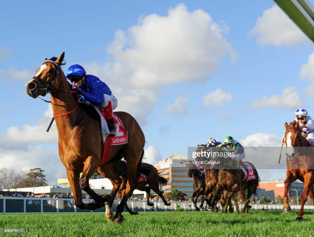Craig Williams riding Hartnell wins Race 7, P.B. Lawrence Stakes during Melbourne Racing at Caulfield Racecourse on August 19, 2017 in Melbourne, Australia.
