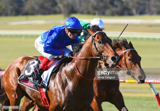 Craig Williams riding Isaurian winning Race 6 during Melbourne Racing at Sandown Hillside on August 29 2018 in Melbourne Australia