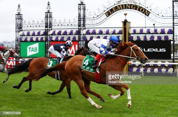 Craig Williams riding Kemalpasa wins race three the Tab Stakes during 2020 AAMI Victoria Derby Day at Flemington Racecourse on October 31, 2020 in...