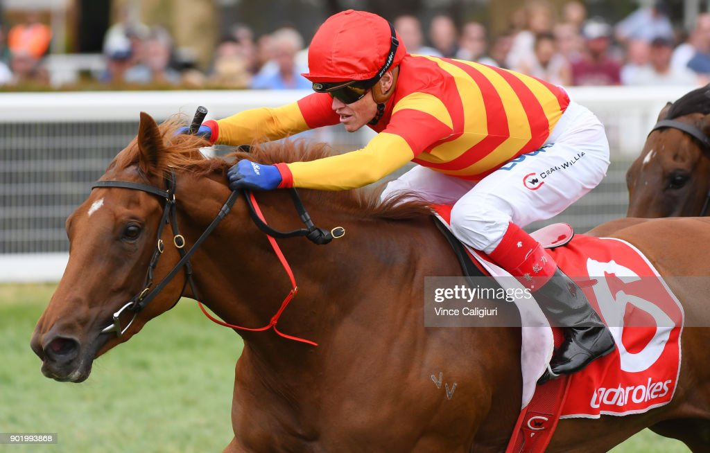 Craig Williams riding Magnesium Rose wins Race 3 during Melbourne Racing at Caulfield Racecourse on January 7, 2018 in Melbourne, Australia.