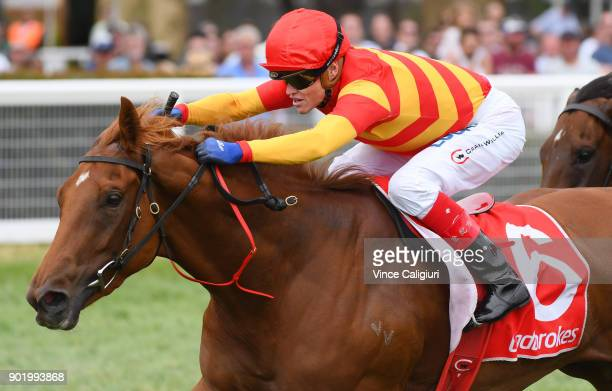 Craig Williams riding Magnesium Rose wins Race 3 during Melbourne Racing at Caulfield Racecourse on January 7 2018 in Melbourne Australia