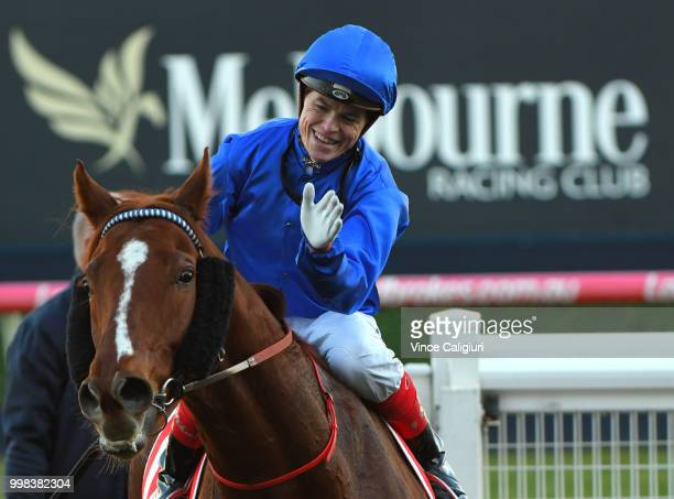 Craig Williams riding Malaise after winning Race 9 during Melbourne Racing at Caulfield Racecourse on July 14 2018 in Melbourne Australia