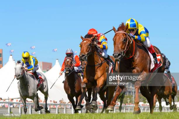 Craig Williams riding Native Soldier winning Race 7 Ladbrokes Christmas Stakes during Melbourne Racing at Caulfield Racecourse on December 26 2018 in...