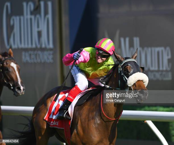 Craig Williams riding Pravro wins Race 8 during Melbourne Racing at Caulfield Racecourse on December 26 2017 in Melbourne Australia