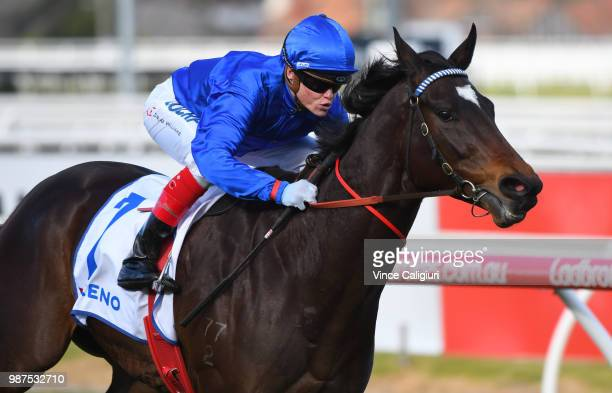 Craig Williams riding Rillito winning Race 5 during Melbourne racing at Caulfield Racecourse on June 30 2018 in Melbourne Australia