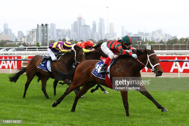 Craig Williams riding September Run wins race six the Coolmore Stud Stakes during 2020 AAMI Victoria Derby Day at Flemington Racecourse on October...