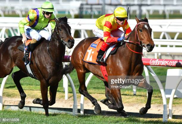 Craig Williams riding Shamport wins Race 3 Victorian Breeders Vobis Gold Ingot during Melbourne Racing at Caulfield Racecourse on July 29 2017 in...