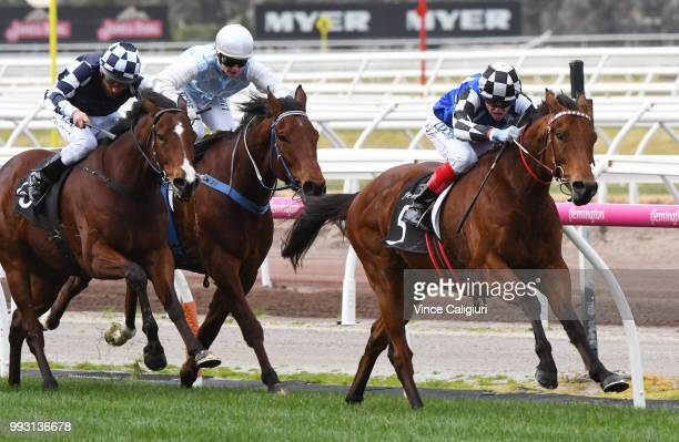 Craig Williams riding Sixties Groove wins Race 2 VRCCRV Cup Tour Trophy during Melbourne Racing at Flemington Racecourse on July 7 2018 in Melbourne...