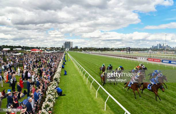 Craig Williams riding Thermal Current winning Race 6 Absolut Stakes during Oaks Day at Flemington Racecourse on November 08 2018 in Melbourne...
