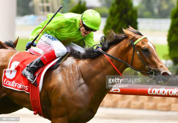 Craig Williams riding Truly Discreet wins Race 2 during Melbourne Racing at Moonee Valley Racecourse on December 23 2017 in Melbourne Australia