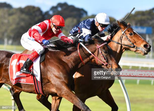 Craig Williams riding Ubin Thunderstruck defeats Ben Melham riding Crocodile Rock in Race 7 during Melbourne Racing at Sandown Hillside on August 30...