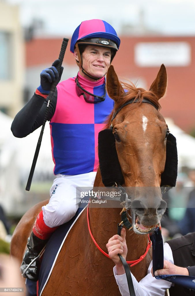Craig Williams riding Vega Magic after winning New Zealand Bloodstock Memsie Stakes during Melbourne Racing at Caulfield Racecourse on September 2, 2017 in Melbourne, Australia.
