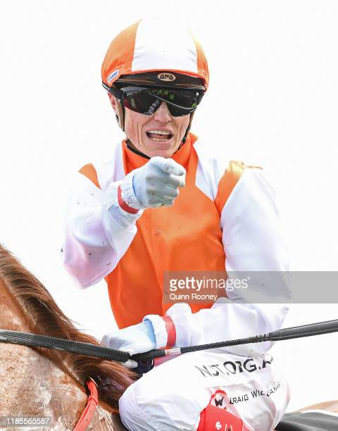 Craig Williams riding Vow and Declare celebrates winning the Lexus Melbourne Cup during 2019 Melbourne Cup Day at Flemington Racecourse on November...