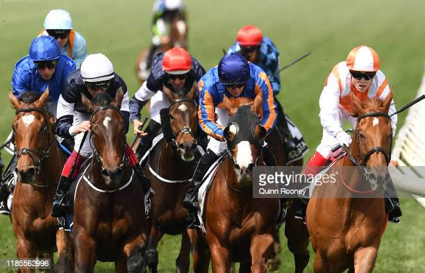 Craig Williams riding Vow and Declare wins the Lexus Melbourne Cup during 2019 Melbourne Cup Day at Flemington Racecourse on November 05, 2019 in...