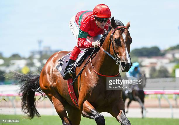Craig Williams riding Weatherly wins Race 2 the International Race Clubs Talindert Stakes during Black Caviar Lightning Stakes Day at Flemington...