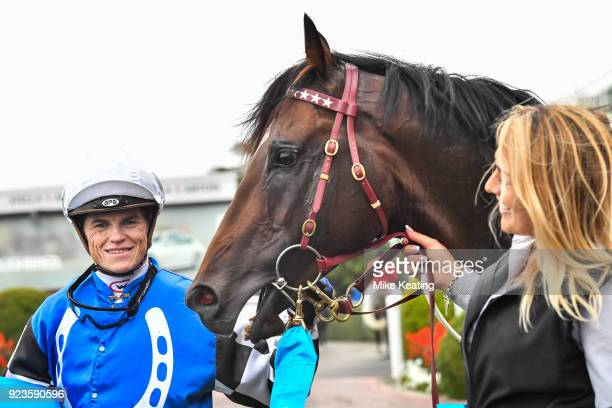 Craig Williams with Brave Smash after winning the italktravel Futurity Stakes at Caulfield Racecourse on February 24 2018 in Caulfield Australia